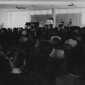 People attending speech in Erdahl-Cloyd Ballroom