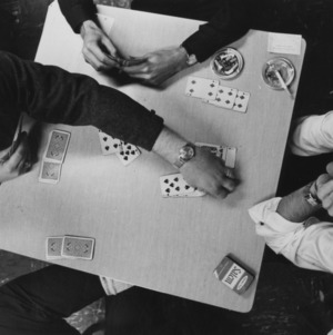 Students playing card game
