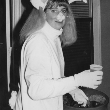 Girl in bunny costume at Halloween party