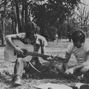 Group playing guitar on lawn