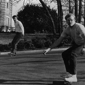 Students skateboarding