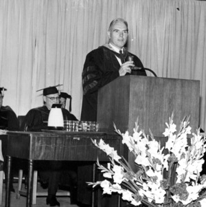 Chancellor John T. Caldwell giving graduation address