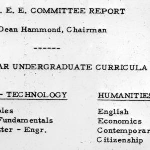 A.S.E.E. Committee Report, Dean Hammond, Chairman - Four year undergraduate curricula
