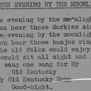 """In The Evening by The Moonlight""- 4-H Club song lyrics"