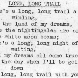 """Long Long Trail"" - 4-H Club song lyrics"