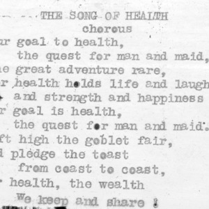 """The Song Of Health"" (chorus) 4-H Club song lyrics"