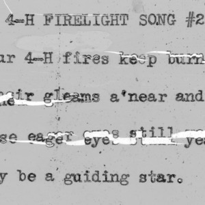 "4-H Club song slides : ""4-H Clubs Firelight Song"""