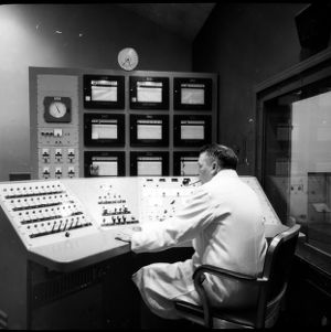 Operator at Nuclear Reactor control board