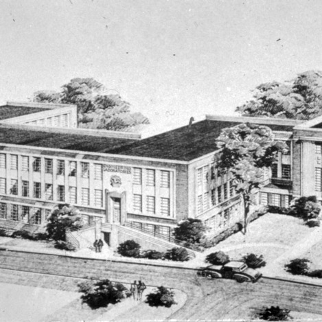 Architectual drawing of Riddick Building