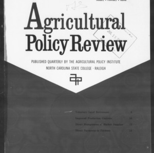 Agricultural Policy Review Vol. 1 No. 1