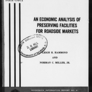 An Economic Analysis of Preserving Facilities for Roadside Markets (EIR-4)