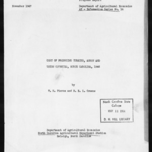 Cost of Producing Turkeys, Anson and Union Counties, North Carolina, 1946 (AE Information Series No. 14)