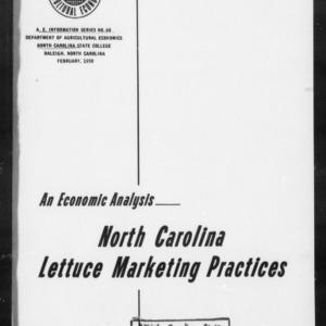 An Economic Analysis- North Carolina Lettuce Marketing Practices (AE Information Series No. 64)