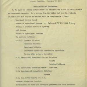 Department of Agronomy Library Committee records, 1943