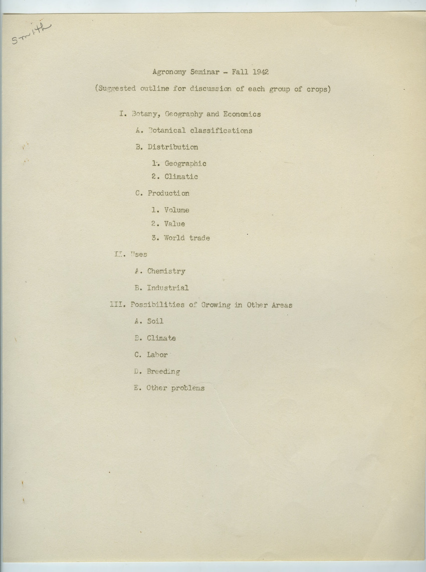 Department of Agronomy reports and seminars, 1942-1949