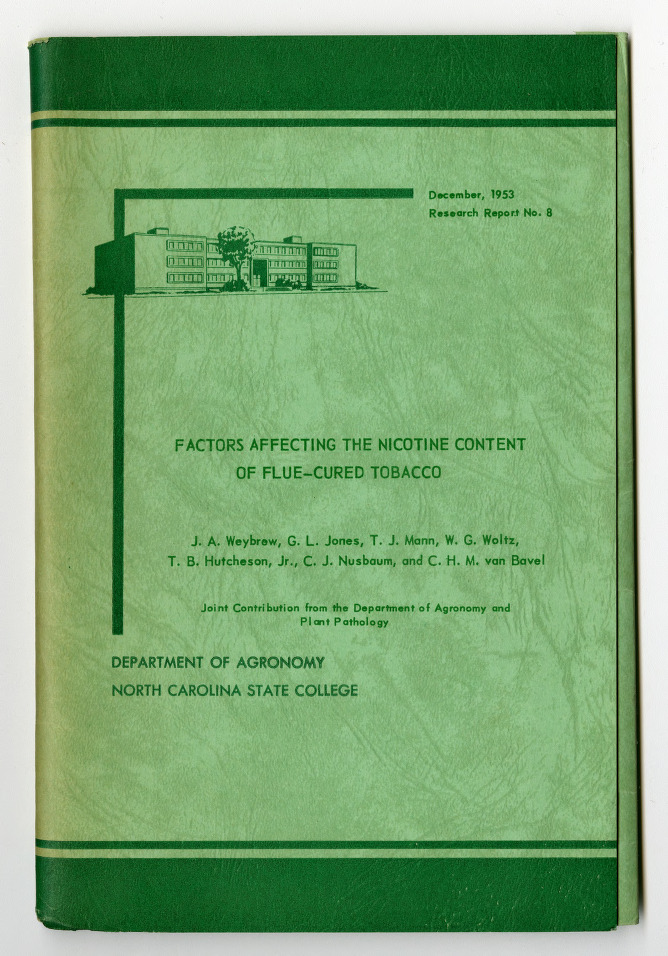 Factors Affecting the Nicotine Content of Flue-Cured Tobacco by J. A. Weybrew, G. L. Jones, et al., 1953