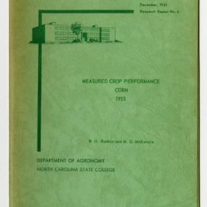 Measured Crop Performance : Corn by W. H. Rankin and M. G. McKenzie, 1953