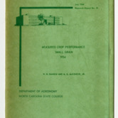 Measured Crop Performance : Small Grain by W. H. Rankin and M. G. McKenzie, Jr., 1954