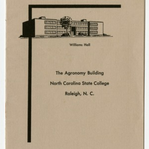 Williams Hall : The Agronomy Building, North Carolina State College, Raleigh, N. C.