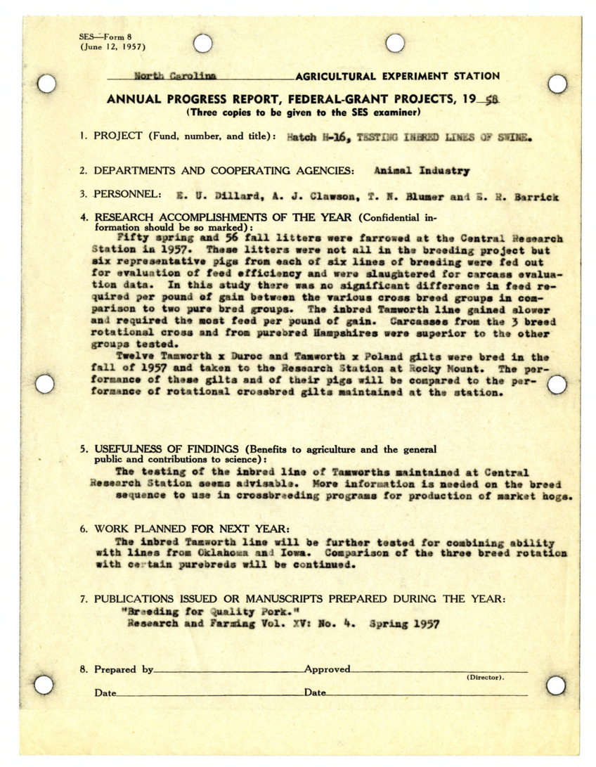 Animal Husbandry Projects. Annual progress reports. Testing Inbred Lines of Swine. R.E. Comstock, H.A. Stewart, and J.E. Foster :: Research Files