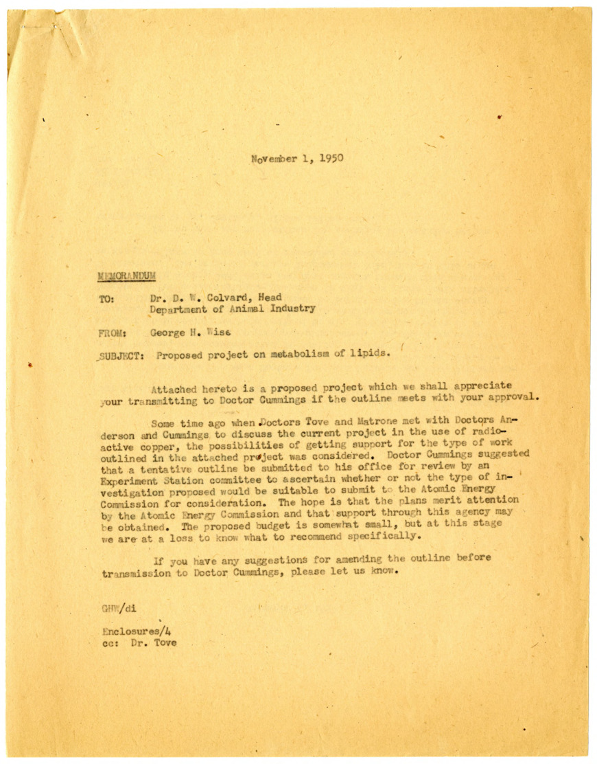 Animal Nutrition Projects. Atomic Energy Commission (A.E.C.) - Carbon. S.B. Tove :: Research Files