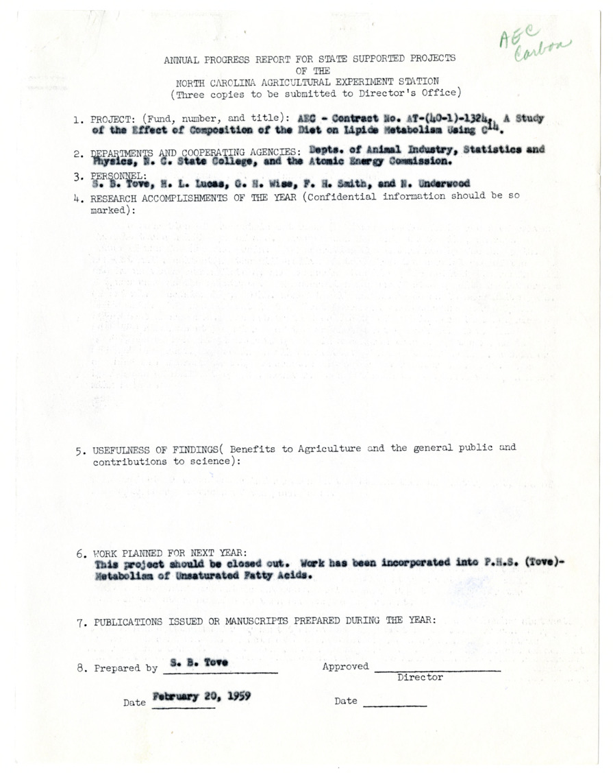 Animal Nutrition Projects. Annual progress reports. Atomic Energy Commission (A.E.C.) - Carbon. H.L. Lucas :: Research Files
