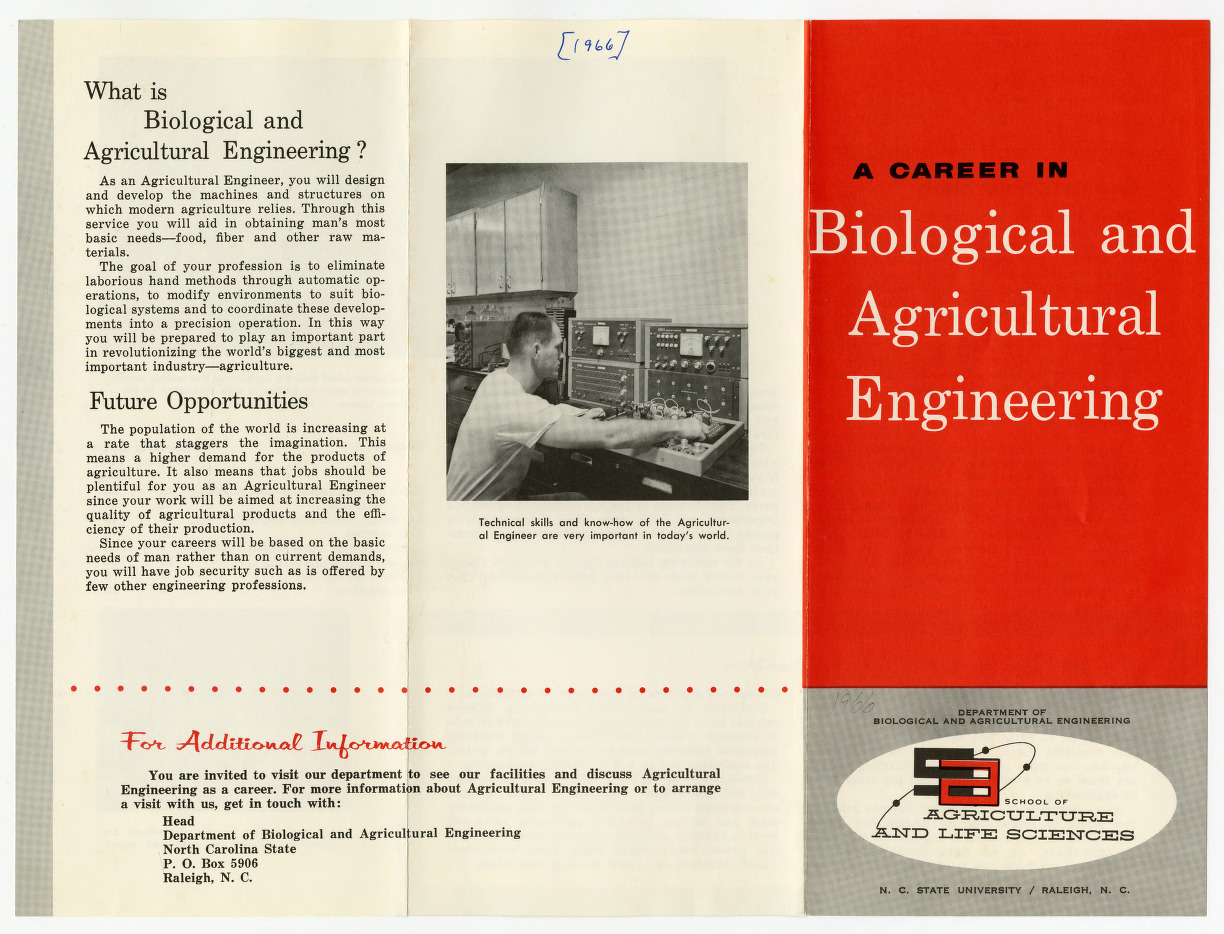 Biological and Agricultural Engineering departmental information, 1948-1985
