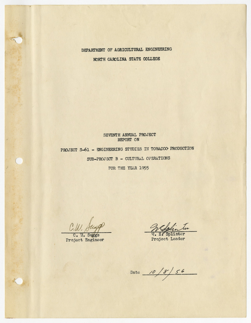 Seventh Annual Report on Engineering Studies in Tobacco Production, Cultural Operations, 1956