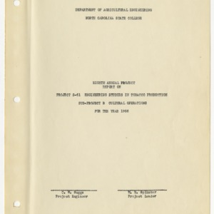 Eighth Annual Report on Engineering Studies in Tobacco Production, Cultural Operations, 1956