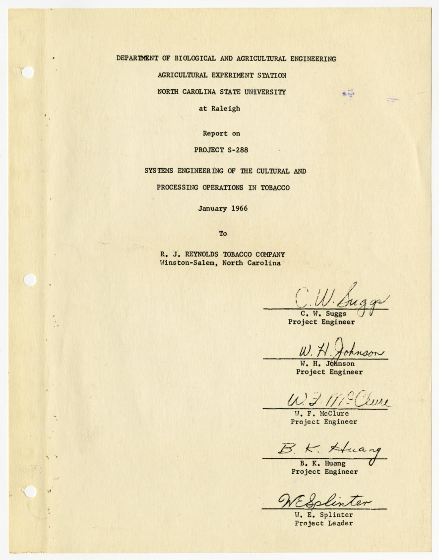 Report on Project S-288, Systems Engineering of the Cultural and Processing Operations in Tobacco, 1966