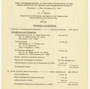 India Institute of Technology reports and records, 1965-1971