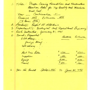 Department of Biological and Agricultural Engineering proposals and funding records, 1978-1985