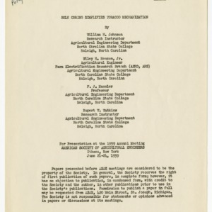 Bulk Curing Simplifies Tobacco Mechanization, Paper No. 59-311, 1959