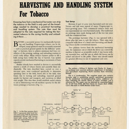 """A Mechanical Harvesting and Handling System for Tobacco,"" by William E. Splinter and Charles W. Suggs, 1968"
