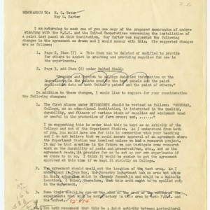Farmers Cooperative Exchange and United Cooperatives, Inc. memorandums of understanding and records, 1952