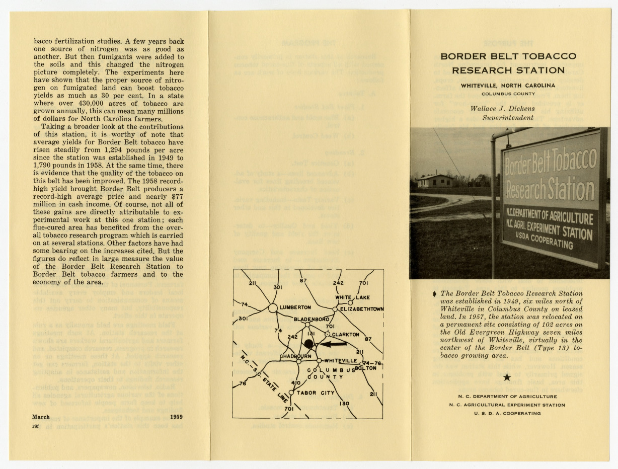 Office and administrative records for Border Belt Tobacco Research Station