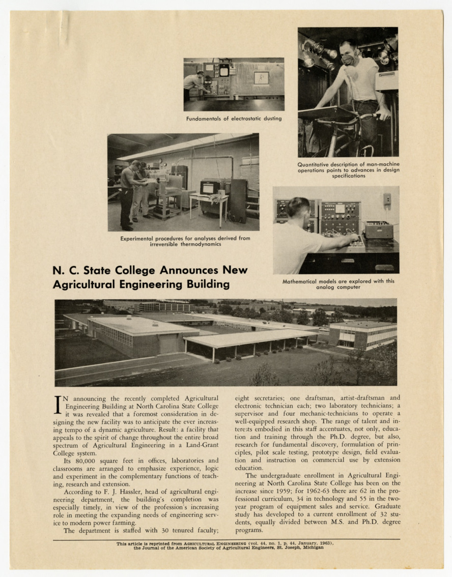 """North Carolina State College Announces New Agricultural Engineering Building,"" 1963"