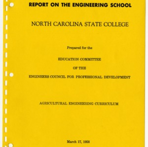 Report on the Engineering School, North Carolina State College, Agricultural Engineering Curriculum