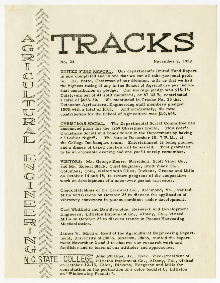 Tracks, Agricultural Engineering, N.C. State College, No. 24 :: Publications