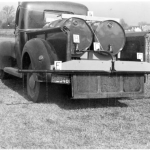 Liquid fertilizer distributor loaded on truck