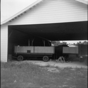 Wagons in storage building