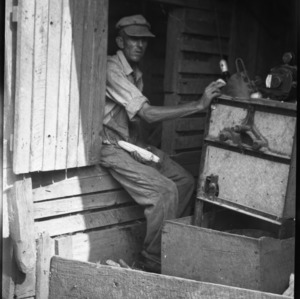 Man operating corn-shucking machine