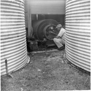 Man managing peanut dryer