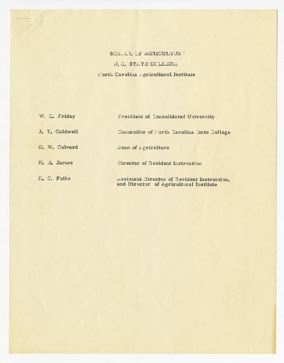 North Carolina Agricultural Institute information and curricula, 1960-1961