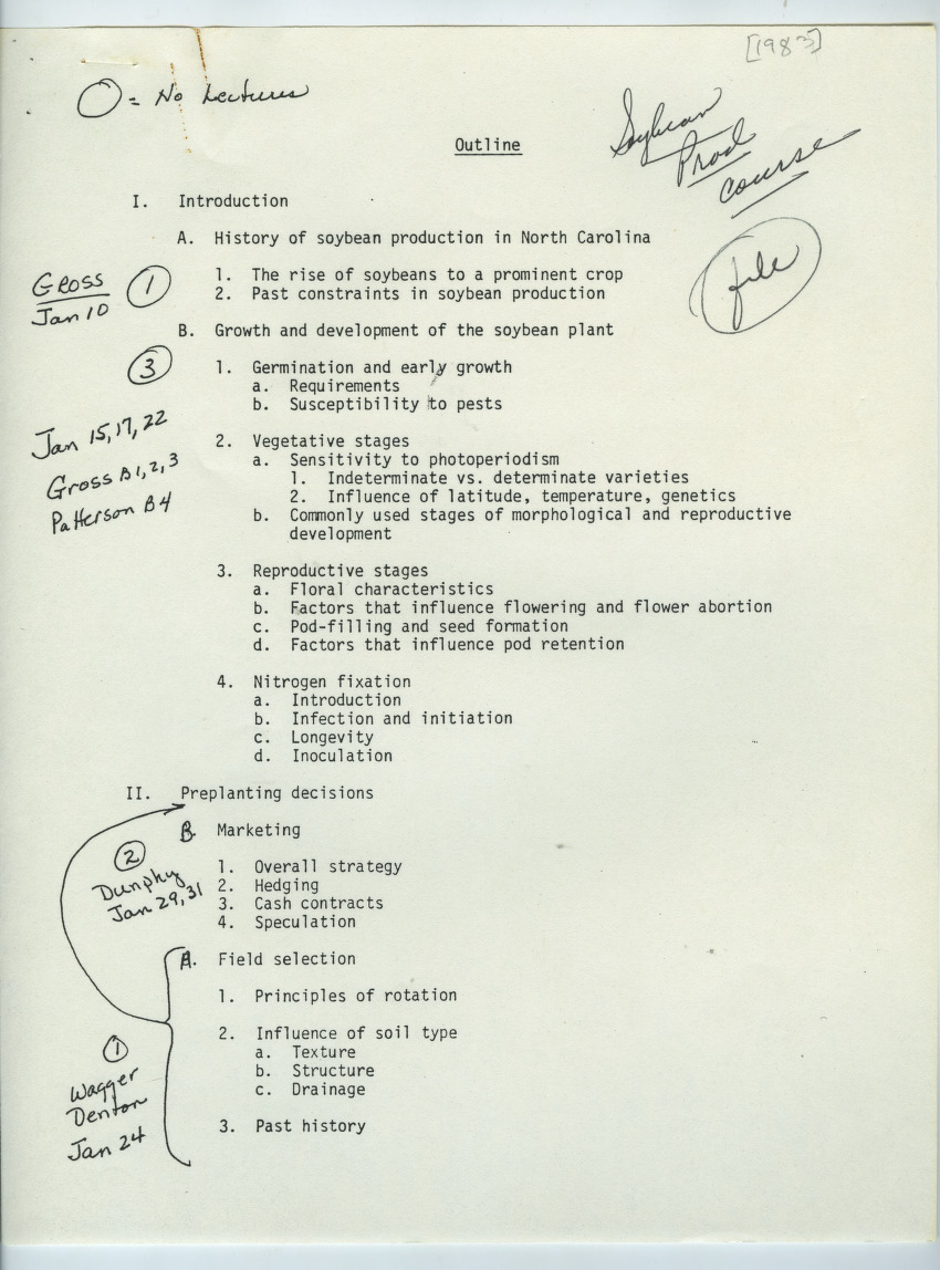 Soybean Production class outline and syllabus, 1983