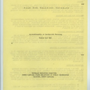 """Plan For Training Veterans : Apprenticeship or On-the-Job Training"" and application, 1946"