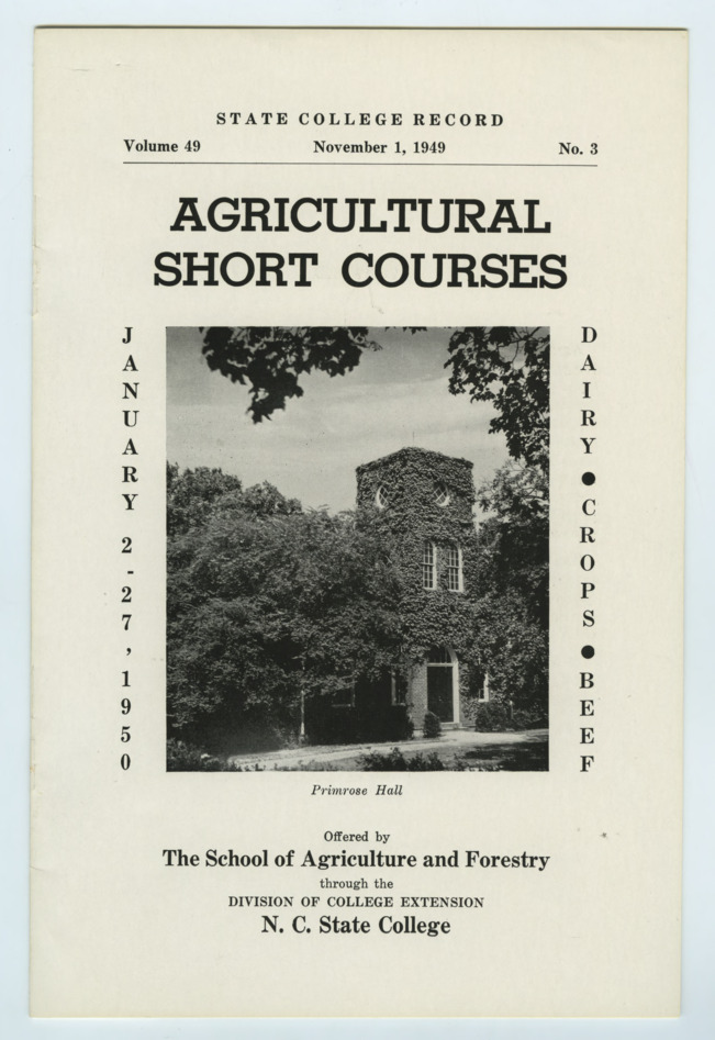 """State College Record : Agricultural Short Courses,"" 1949"