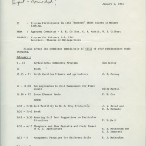Short Courses in Modern Farming and Pesticide School information, 1961-1966