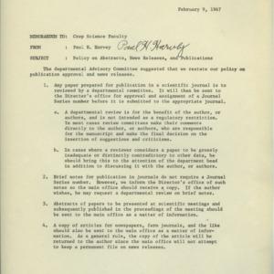 Crop Science administrative policies regarding publicity, 1963-1967