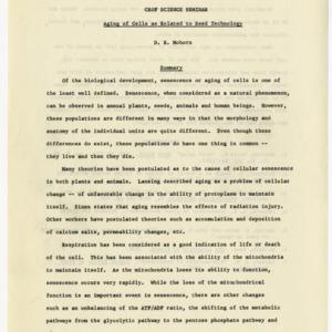 Crop Science seminars records, 1962-1965